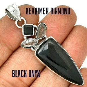 Herkimer Diamond & Onyx Pendant Sterling